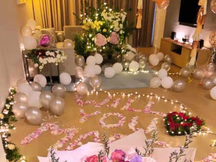 Trang trí tiệc cầu hôn lãng mạn tại khách sạn