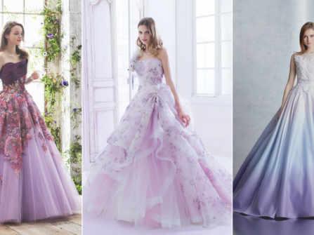 30 mẫu váy cưới màu tím cực lãng mạn cho những cô dâu hiện đại