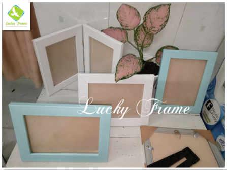 Bộ khung ảnh cửa sổ trắng+xanh để bàn 13x18cm