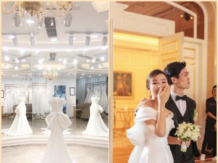 Váy cưới tối giản theo phong cách của vợ Công Phượng
