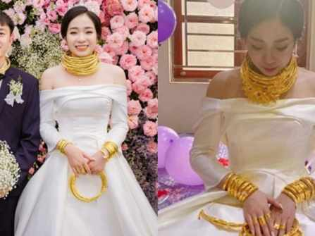 Cộng đồng mạng choáng ngợp trước hình ảnh cô dâu Sóc Trăng đeo vàng đầy người, đếm vàng trên người cô dâu cũng đủ hoa mắt