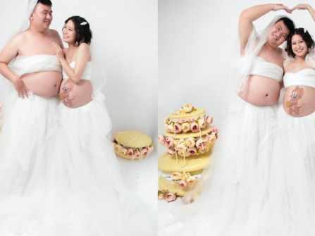 """Bộ ảnh bầu hot nhất MXH: Bố """"bụng mỡ"""" tạo dáng xinh không kém mẹ bầu, ai xem cũng phải thốt lên """"quá dễ thương"""""""