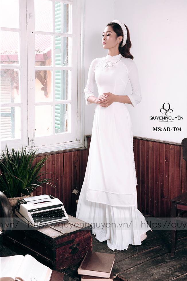 Áo dài cưới trắng đơn giản kiêu sa Marry