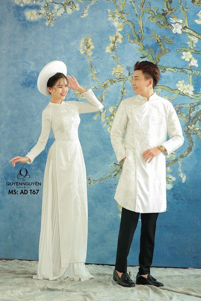 Áo dài cưới trắng đơn giản nội y Marry
