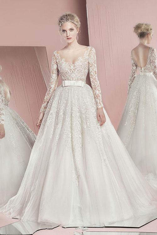 Váy cưới đơn giản sang trọng thắt nơ Marry