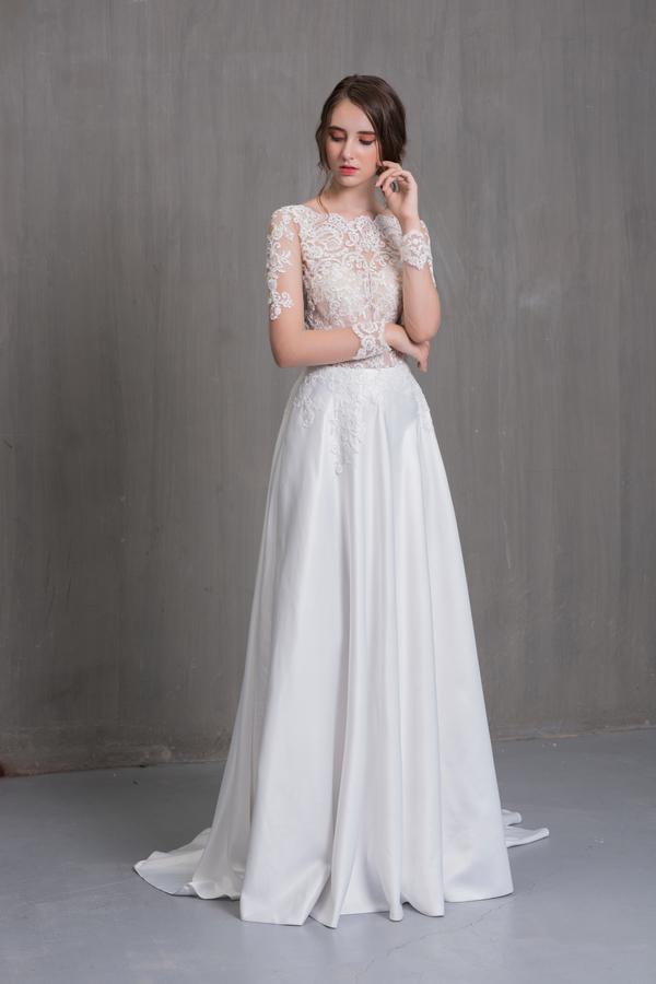 Váy cưới đơn giản sang trọng chữ A 3 Marry