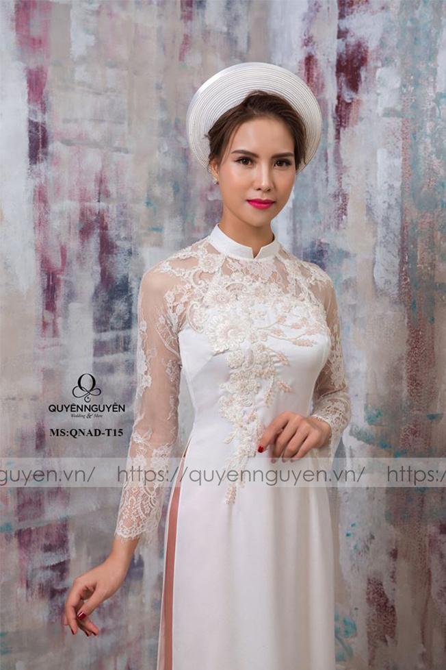 Áo dài cưới trắng đơn giản tay ren Marry