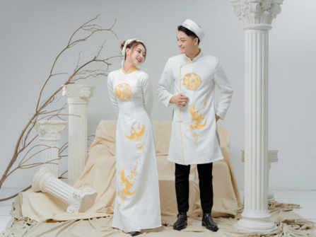 Áo dài cưới gấm trắng- nét đẹp truyền thống và sang trọng cho cô dâu