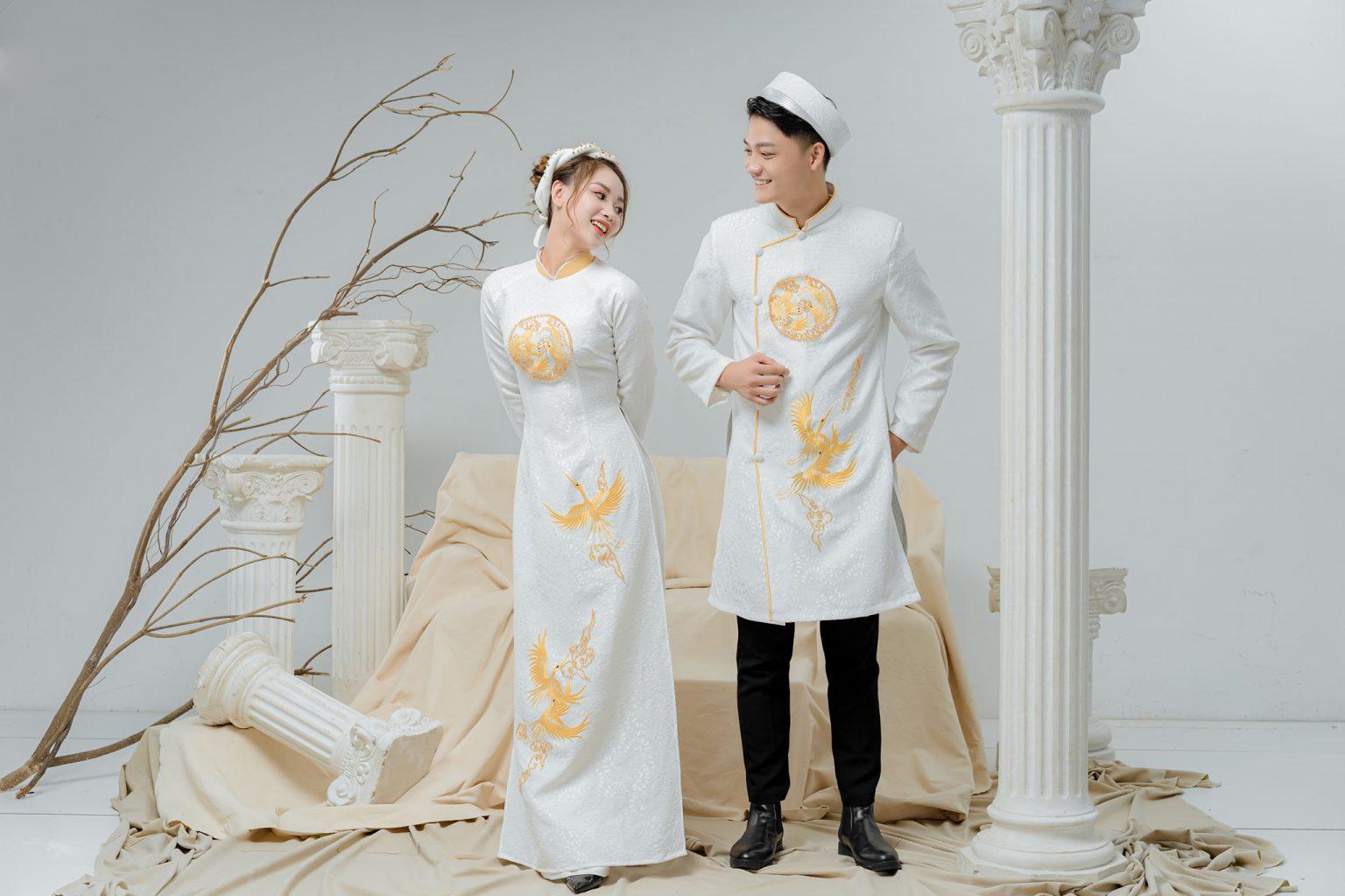 Áo dài cưới gấm trắng- nét đẹp truyền thống và sang trọng cho cô dâu Marry
