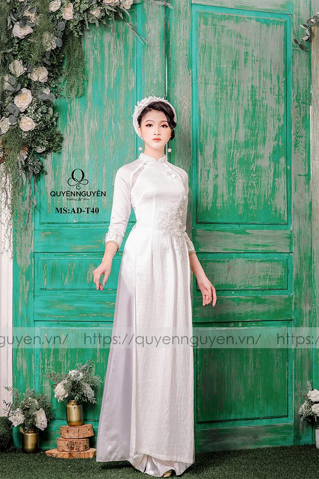 Áo dài cưới trắng đơn giản eo Marry