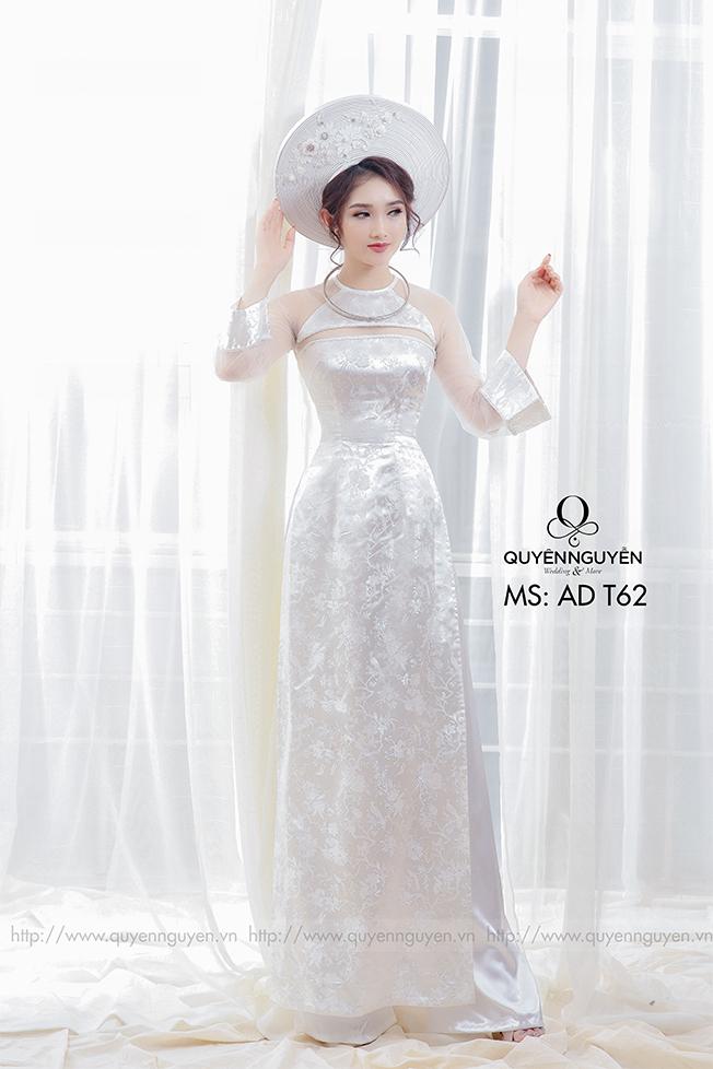 Áo dài cưới trắng đơn giản lụa Marry
