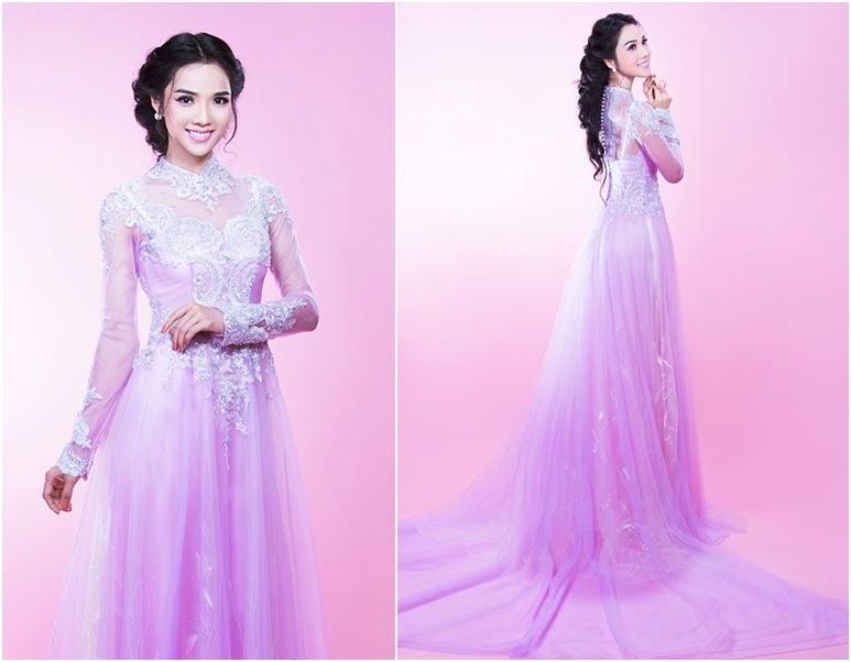 Mẫu áo dài cô dâu màu tím lãng mạn 2 Marry