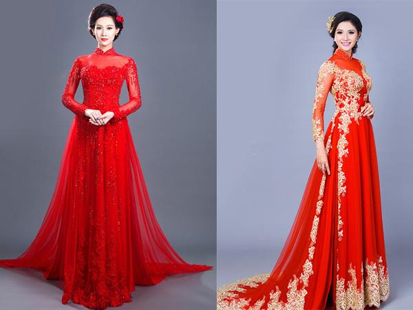 Mẫu áo dài cô dâu màu đỏ cách tân 2 Marry