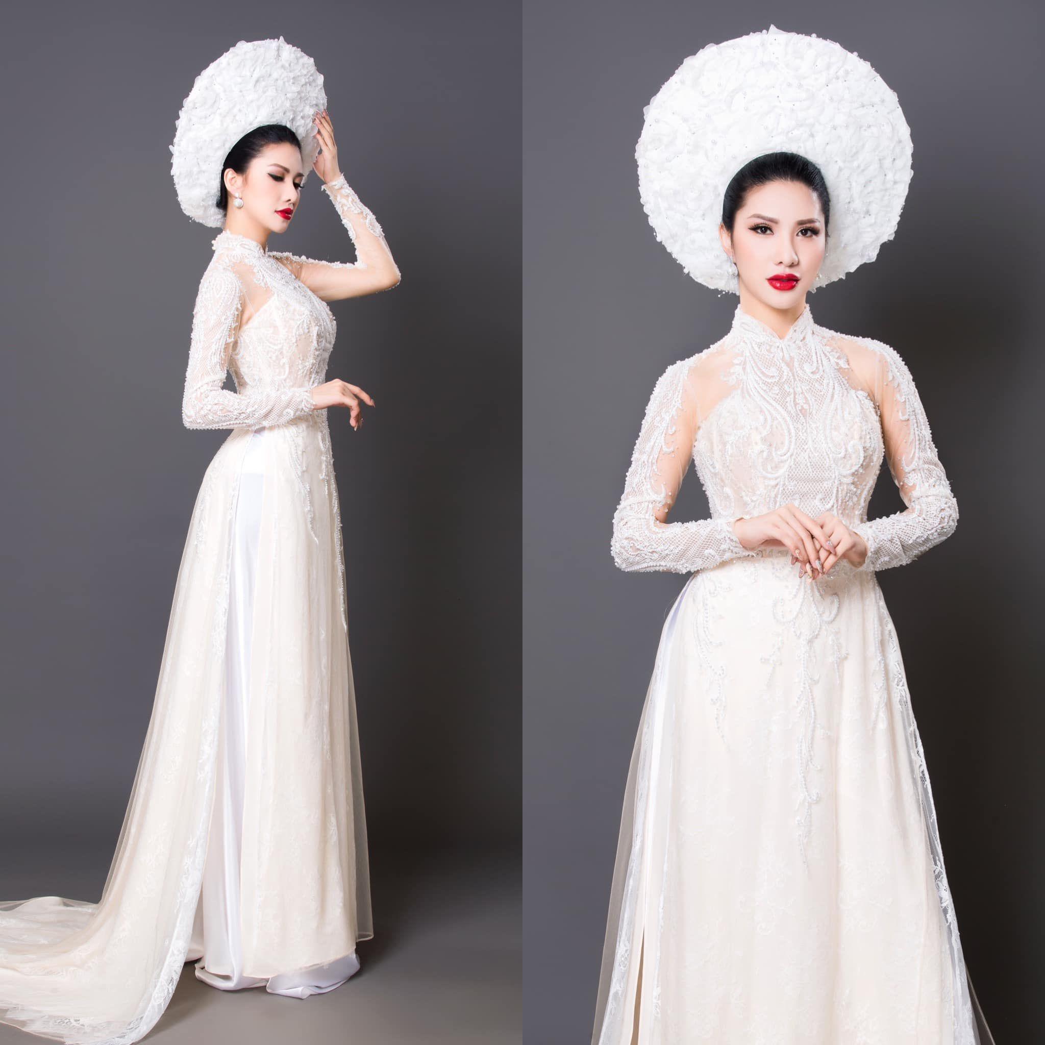 Mẫu áo dài cô dâu trắng hiện đại 2 Marry