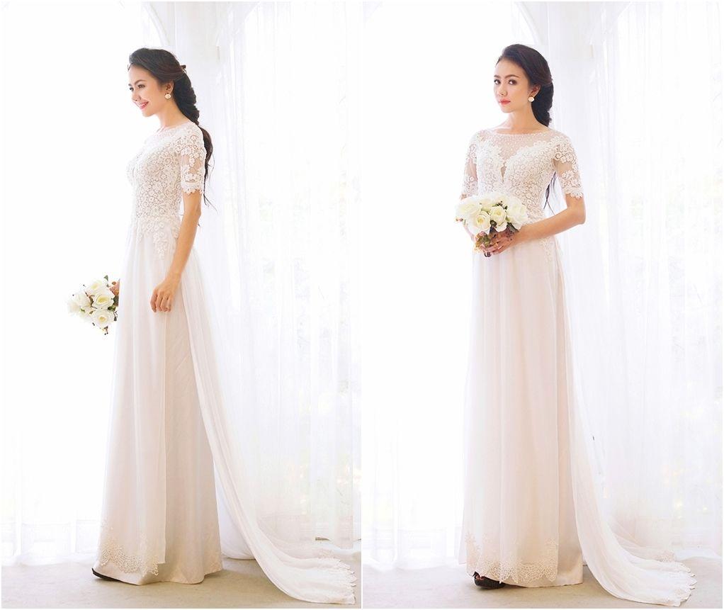Mẫu áo dài cô dâu ren tay ngắn 2 Marry