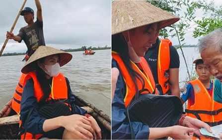 Thuyền suýt bị lật khi đi cứu trợ, Thủy Tiên: Nếu không phát hiện sớm cả đoàn có lẽ chẳng đi về được nữa rồi