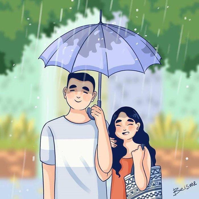 """Bộ tranh về tình yêu đơn giản là """" Mình yêu nhau bình yên thôi là đủ, giông bao đã ở sau cánh cửa"""" Marry"""